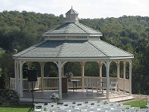 A white and green gazebo in Pine Community Park.