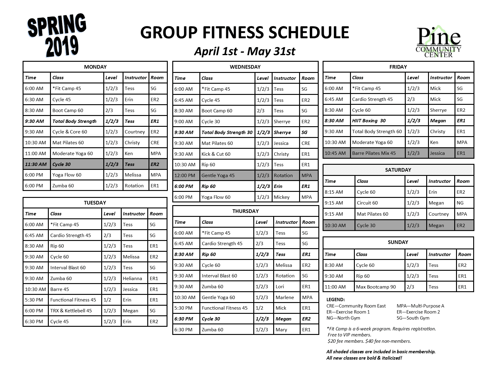 Group Fitness Schedule Summer 2018
