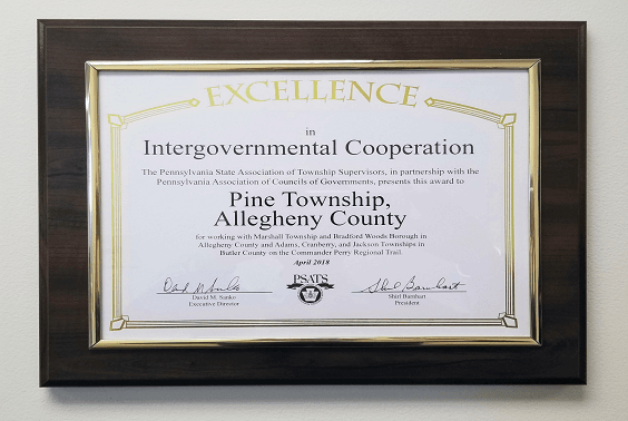 Township of Pine Award for Commodore Perry Regional Trail